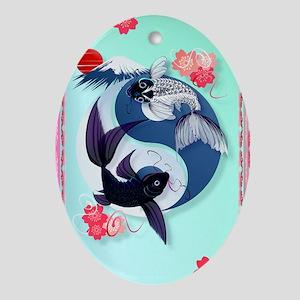 Area Rug Yin and Yang Koi Oval Ornament