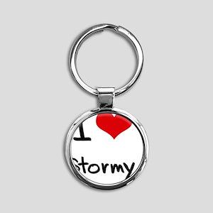 I love Stormy Round Keychain