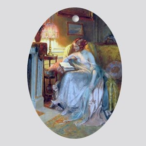 Lady reading by lamp Oval Ornament
