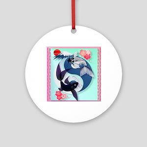 Yin and Yang Koi Round Ornament