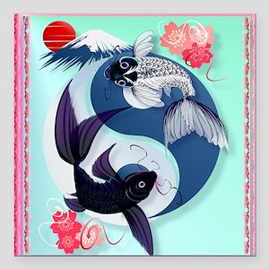 """Yin and Yang Koi Square Car Magnet 3"""" x 3"""""""