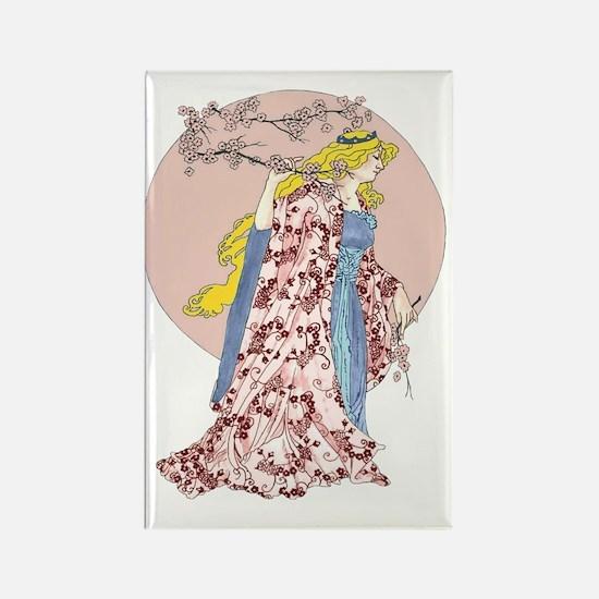 Cherry Blossom Moon Rectangle Magnet