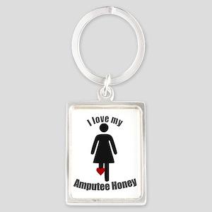 I Love my Honey Amputee Portrait Keychain