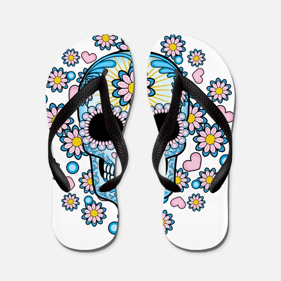 Colorful Sugar Skull Flip Flops