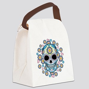 Colorful Sugar Skull Canvas Lunch Bag