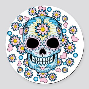 Colorful Sugar Skull Round Car Magnet