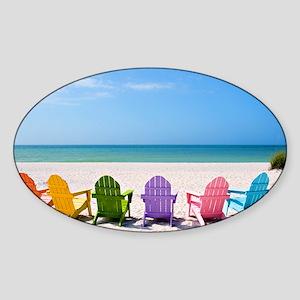 Summer Beach Sticker (Oval)