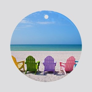 Summer Beach Round Ornament