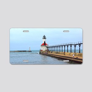 Michigan City Lighthouse Aluminum License Plate