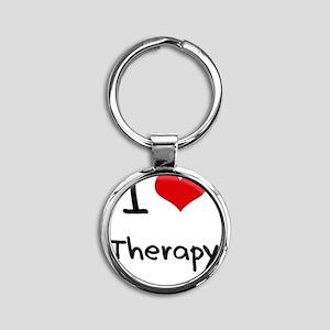 I love Therapy Round Keychain