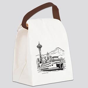Space Needle and Ferry Canvas Lunch Bag
