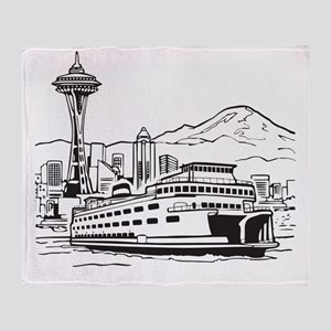 Space Needle and Ferry Throw Blanket