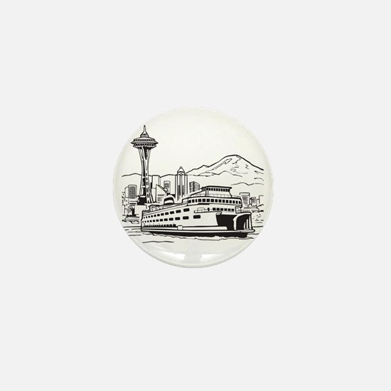 Space Needle and Ferry Mini Button