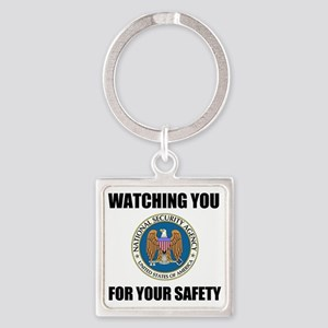 Watching You For Your Safety Square Keychain