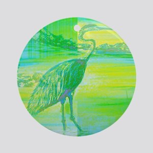Great Blue Heron Abstract  Round Ornament