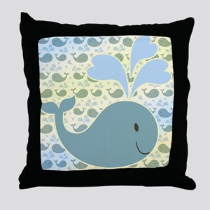 Cute Whale With Pattern Throw Pillow