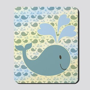 Cute Whale With Pattern Mousepad