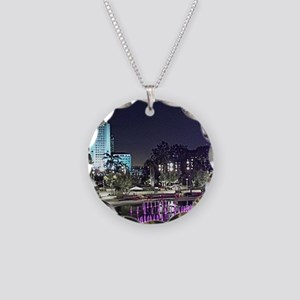 View of Grand Park at night Necklace Circle Charm