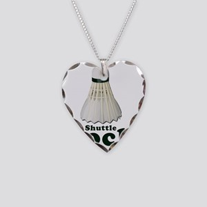 Shuttle Cock - WHITE Necklace Heart Charm