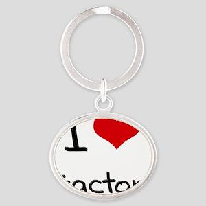 I love Tractors Oval Keychain