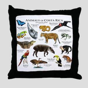 Costa Rica Animals Throw Pillow