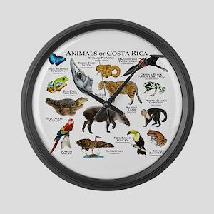 Costa Rica Animals Large Wall Clock