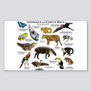 Costa Rica Animals Sticker (Rectangle)