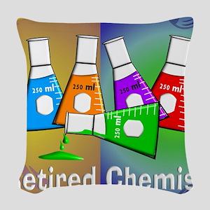 Retired chemist blanket 7 Woven Throw Pillow