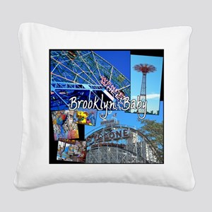 Coney Island Bklyn Baby Square Canvas Pillow