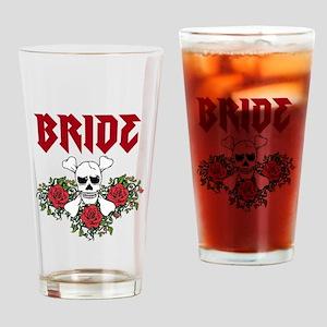 Bride Skull Roses Drinking Glass