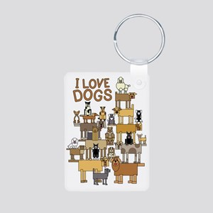 I LOVE DOGS Aluminum Photo Keychain
