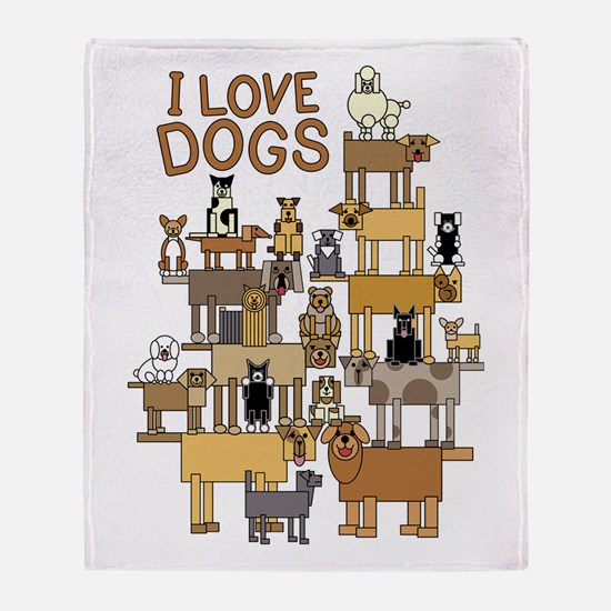 I LOVE DOGS Throw Blanket