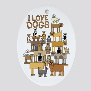 I LOVE DOGS Oval Ornament