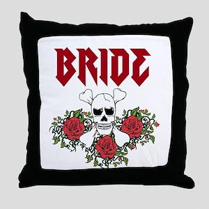 Bride Skull Roses Throw Pillow