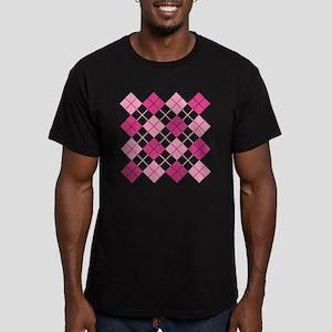 Pink Argyle Men's Fitted T-Shirt (dark)