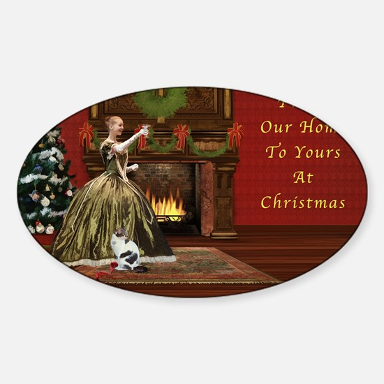 Christmas Card, Vintage Home, Holid Sticker (Oval)
