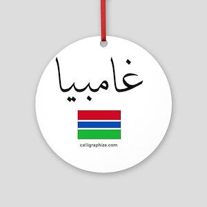 Gambia Flag Arabic Ornament (Round)