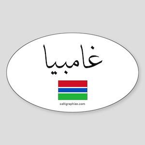 Gambia Flag Arabic Oval Sticker