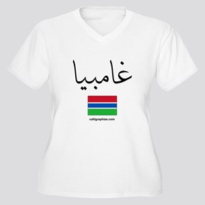 Gambia Flag Arabic Women's Plus Size V-Neck T-Shir