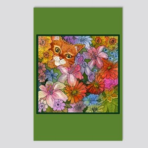 Cat Among the Flowers Postcards (Package of 8)