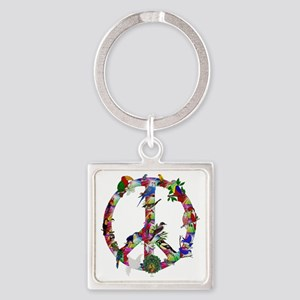 Colorful Birds Peace Sign Square Keychain