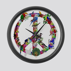 Colorful Birds Peace Sign Large Wall Clock