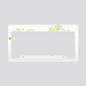 ginkgo tree with green leaves License Plate Holder