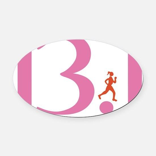 13.1 Runs Like A Girl Oval Car Magnet