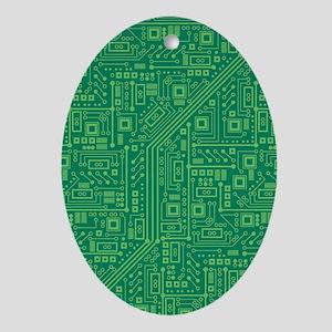 Green Circuit Board Oval Ornament