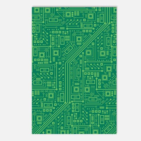 Green Circuit Board Postcards (Package of 8)
