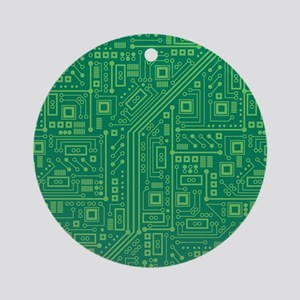 Green Circuit Board Round Ornament