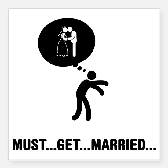 """Married-A Square Car Magnet 3"""" x 3"""""""