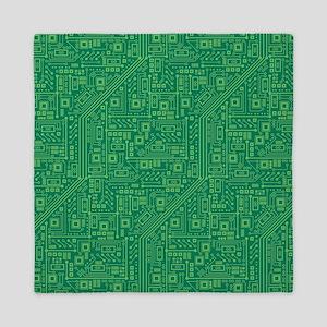 Green Circuit Board Queen Duvet