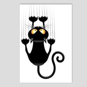 Black Cat Cartoon Scratch Postcards (Package of 8)